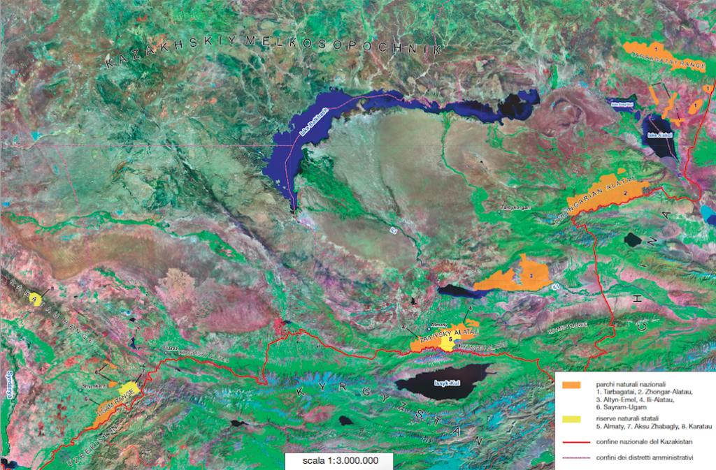 Carta del Kazakistan con in evidenza l'ambito territoriale delle foreste dei meli selvatici, dei parchi naturali nazionali e delle riserve naturali statali (elaborazione a cura di Natalya Ogar).
